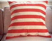 Coral and white striped throw pillow cover