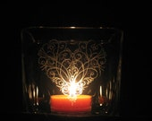 12 Hearts on Fire - Hand Engraved Heart Candle Holders