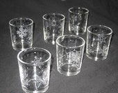 6 Snowflake Hand Engraved Votive or Tea Light Candle Holder - Ready to Ship