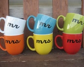 Mix and Match Colors Mr & Mrs Hand Painted Coffee Mugs - Ready To Ship