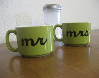 Green Mr. and Mrs. Hand Painted Coffee Cups