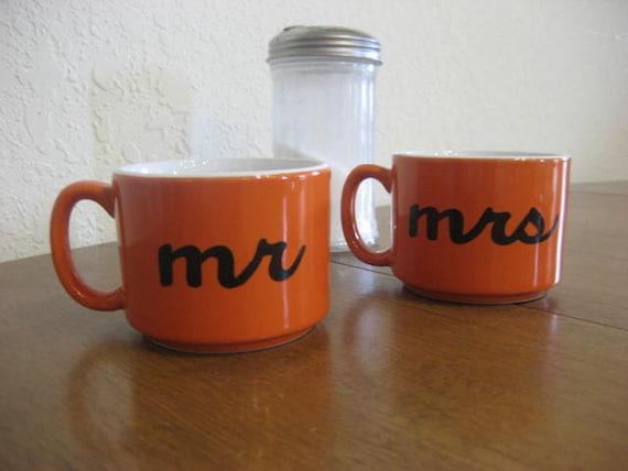Orange Mr. and Mrs. Hand Painted Coffee Cups - LAST SET