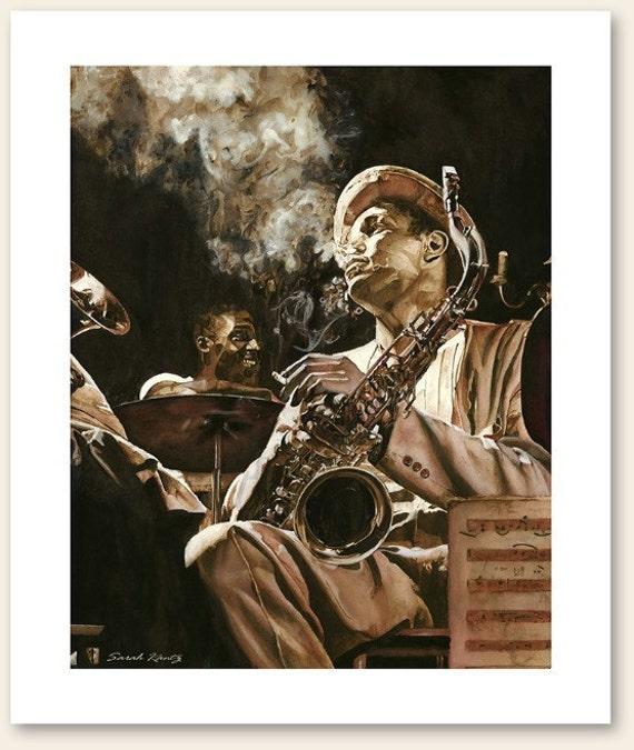 Between Sets, Portrait, Jazz, Saxophone, GICLEE PRINT