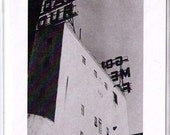 vintage looking black and white photo of Gold Medal Flour building in MPLS on blank card no. 3