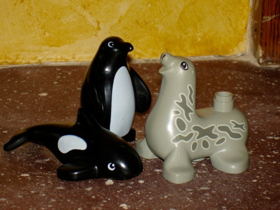 vintage lego duplo character bricks lot of three zoo animals seal penguin and whale