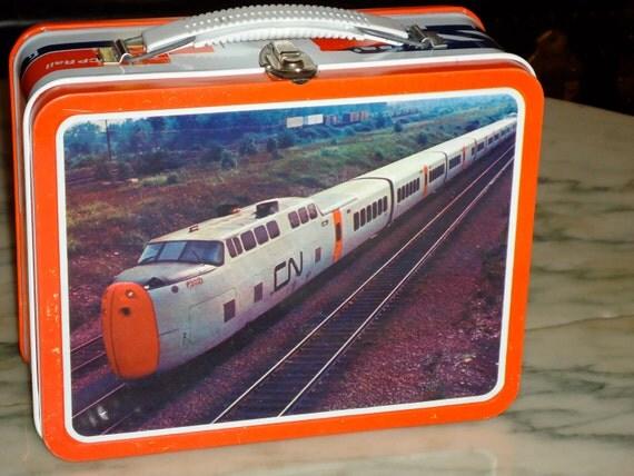 vintage 1970's Ohio Art Canadian Train CT rails dead store stock metal lunch box lunchbox RAD