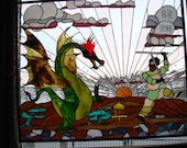 Stained glass dragon and Samurai