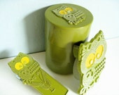 Avocado Green Owl Office Set - Stapler, Containers, Tape Dispenser