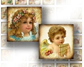 1x1 digital collage sheet for scrabble tile 1 inch digital art images jewelry making paper supplies Victorian angels (047)BUY 3 GET 1 FREE