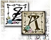 Digital collage sheet download art 1 in scrabble tile Vintage alphabet letter monogram necklace jewelry making paper (030) BUY 3 GET 1 FREE