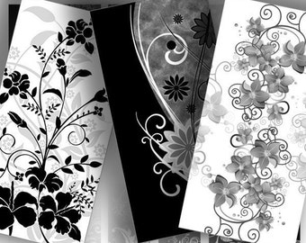 Digital collage sheet domino tile download art jewelry making paper supplies printable black white floral swirl (073) BUY 3 GET 1 FREE