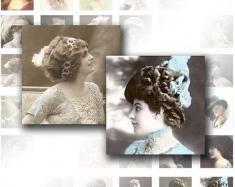 Digital collage sheet for scrabble tiles 1x1  Victorian ladies ephemera vintage images jewelry making paper supplies (023) BUY 3 GET 1 FREE