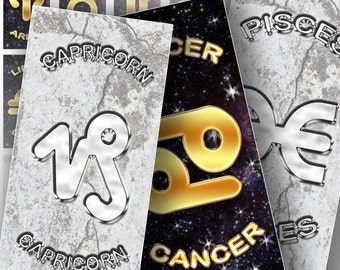1x2 inch domino Zodiac signs digital collage sheet download art printable graphics jewelry making paper supplies (125) BUY 3 GET 1 FREE