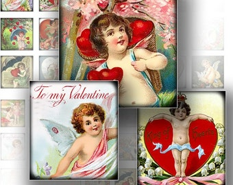 1x1 inch Valentine digital art collage sheets for scrabble tiles jewelry making paper supplies Victorian Valentine (129) BUY 3 GET 1 FREE