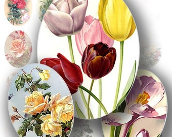 Cameo digital collage sheet graphics art Victorian flowers ephemera vintage images shabby chic jewelry making supplies (101)BUY 3 GET 1 FREE