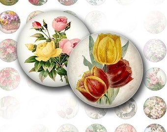 Victorian flowers digital collage bottle cap size 1 inch circle jewelry making altered art paper supplies download  (004) BUY 3 GET 1 FREE