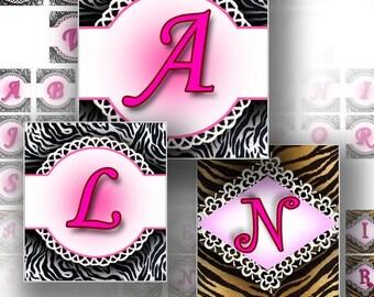 1 inch squares Digital collage sheet Alphabet letters printable download images scrabble tile graphics animal pattern (131) BUY 3 GET 1 FREE