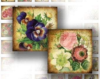 Digital collage sheet art 1x1 digital collage sheets for scrabble tiles jewelry making paper supplies Victorian flower (040)BUY 3 GET 1 FREE