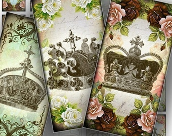 Royal crowns 1x2 domino collage sheets  jewelry making supplies paper download Vintage shabby chic download images (088) BUY 3 GET 1 FREE
