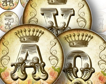 Digital collage sheet download art image Vintage alphabet letter monogram 1.5 in circle jewelry making paper supplies (113) BUY 3 GET 1 FREE