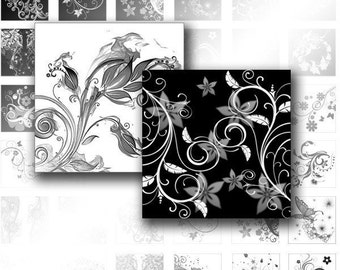 Digital collage Black white swirls scrabble tile glass pendant square necklace jewelry making paper supplies download (032) BUY 3 GET 1 FREE
