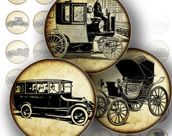1 inch circle digital collage vintage car transportation art download bottle cap images jewelry making paper supplies (138) BUY 3 GET 1 FREE