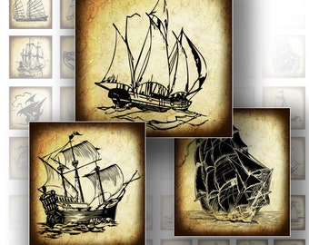 1 x 1 inch digital download vintage ship boat transportation printable scrabble tile glass jewelry making supplies (139) BUY 3 GET 1 FREE