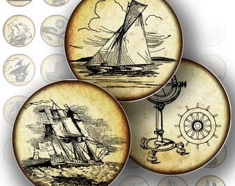1 inch circle digital collage sheet nautical vintage ship boat sail printable bottle cap glass tile jewelry making (140) BUY 3 GET 1 FREE