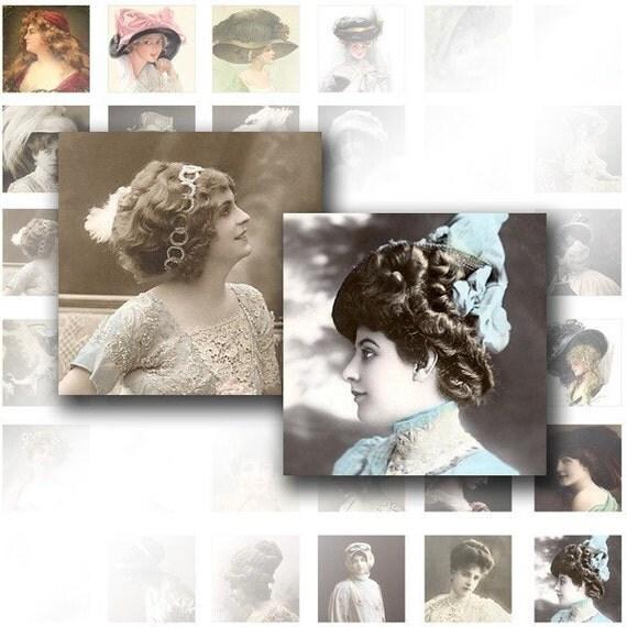 Digital collage sheet for scrabble tiles 1x1  Victorian ladies ephemera vintage images jewelry making paper supplies (023) BUY 3 GET 1 FREE