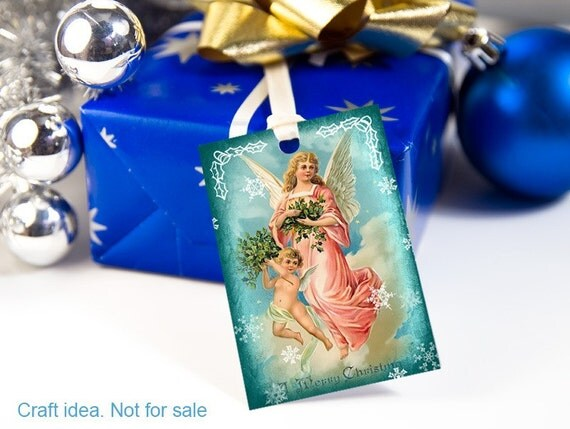 Printable Vintage Christmas digital collage sheets gift tags art Christmas gift embellishment, blue, silver, rusteam (109) BUY3 GET 1 FREE