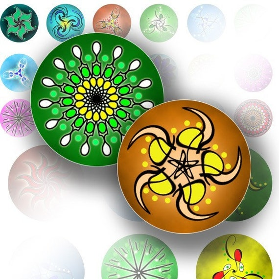 Bottle cap images 1 inch circles art digital collage sheet jewelry making paper supplies Spirograph abstract flowers (050) BUY 3 GET 1 FREE