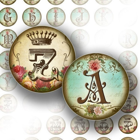 Digital collage Vintage alphabet letter monogram 2-in-1 1 inch circles bottle cap size for jewelry making paper supplies altered art download file (071) BUY 3 GET 1 FREEE