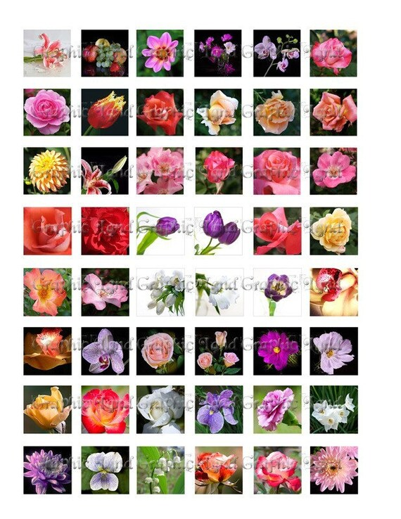 Digital Collage Sheet Scrabble Tile 1 Inch Square Colorful