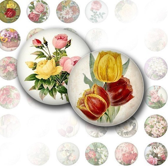 Victorian flowers digital collage bottle cap size 1 inch for How to make bottle cap flowers