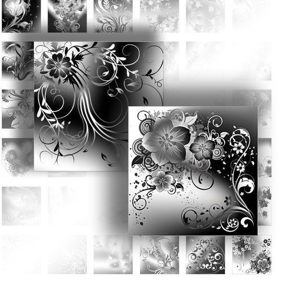 1 inch art digital collage downloads for scrabble tiles images jewelry making paper supplies black white floral swirl (072)BUY 3 GET 1 FREE