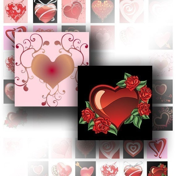 Digital collage sheet 1x1 inch scrabble tile image digital download art jewelry making paper supplies Colorful hearts (042) BUY 3 GET 1 FREE