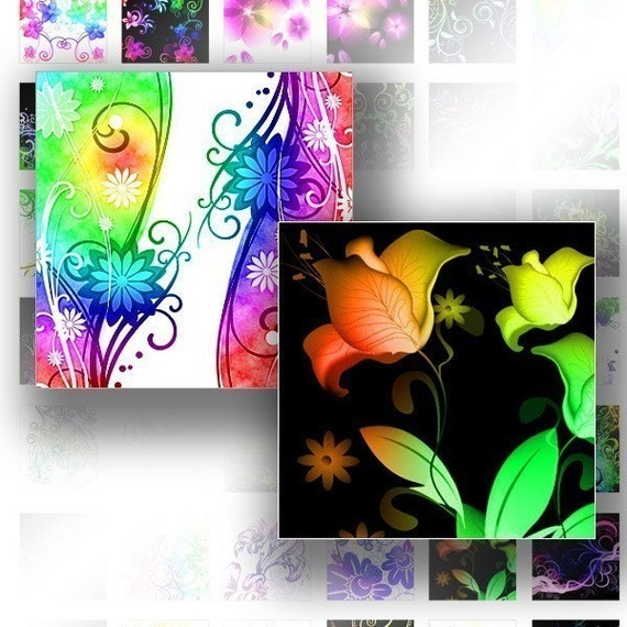 Digital collage 1 inch digital art for scrabble tiles images jewelry making paper supplies media Floral rainbow swirls (075) BUY3 GET 1 FREE
