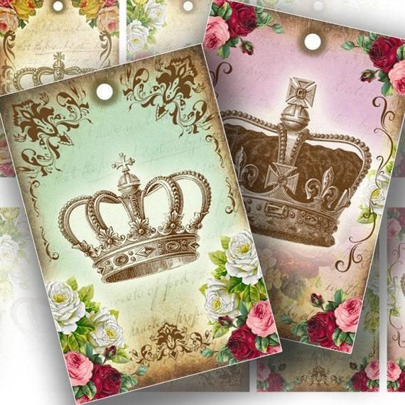 Vintage inspired royal crowns gift tag set printable collage sheet altered art download digital file (106) BUY 3 GET 1 FREE