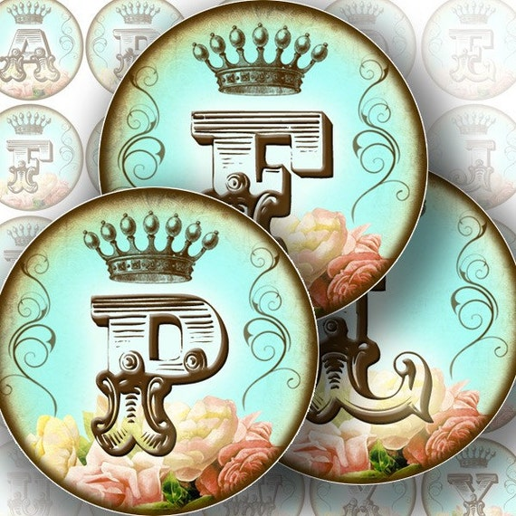 Vintage alphabet letter monogram on turquoise background 1.5 inch circles digital collage sheet for jewelry making paper supplies altered art download file (144) BUY3 GET 1 FREE
