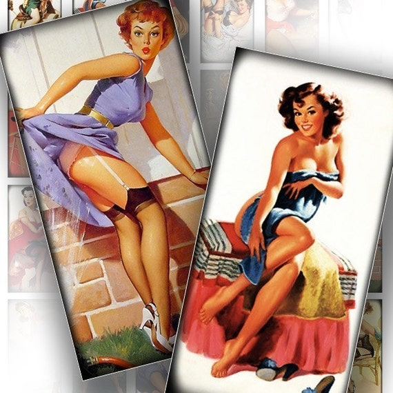 Digital collage sheet Pinup girls 1 inch digital art download domino tile 1x2 inch jewelry making paper supplies (091) BUY 3 GET 1 FREE