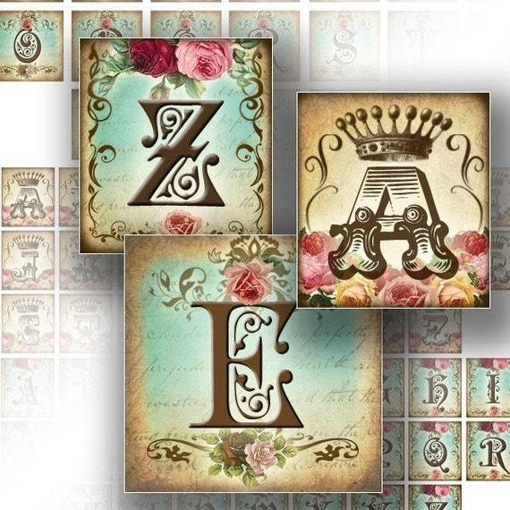 Digital collage sheet Alphabet letters for scrabble tiles 1 inch digital art paper downloads jewelry making supplies (070)BUY 3 GET 1 FREE