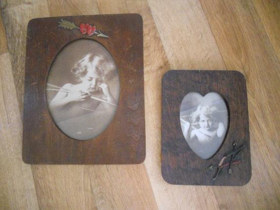 Cupid Awake-Cupid Asleep in Original Wood Frames