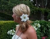 Bridal flower, wedding flower, rhinestones, ivory, hair clip, flower girl