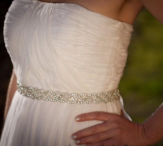 Bridal Sash, Wedding Sash, Rhinestones, Eternity