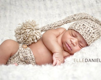 Newborn Photo Photography Prop Crochet Hat and Diaper Cover SET