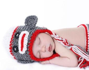 Sock Monkey Hat Crochet Baby Toddler Kids - Custom Made