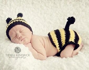 Newborn Baby Crochet Hat Diaper Cover Set Bumblebee Bee Photo Prop Photography