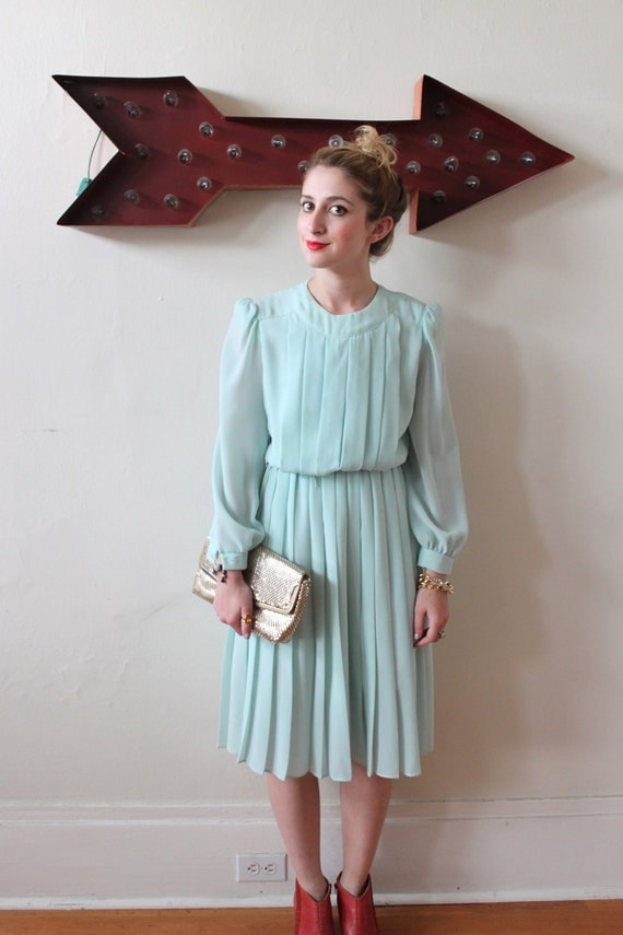 Mint Patty Pleats Dress