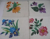 CLEARANCE - NEW VINTAGE - Set of 4 Cross Stitched Floral Napkins - Spring Linens