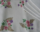 NEW VINTAGE -  Printed Linen Floral Tablecloth and Matching Napkins